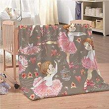 Blankets Cartoon Pink Ballet Girl Super Soft