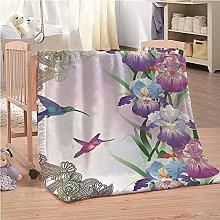 Blankets Flowers Hummingbirds Super Soft Flannel