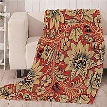Blankets Red Flowers Super Soft Flannel Fleece