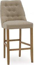 Blenheim Bar Chair In Linen Beige With Wooden Legs