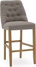 Blenheim Bar Chair In Linen Grey With Wooden Legs