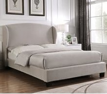 Blenheim Light Grey Velvet Fabric Winged Bed Frame