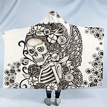 BlessLiving Gothic Skull Hooded Blanket Super Soft