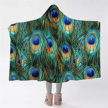 BlessLiving Peacock Feather Hooded Blanket Bird