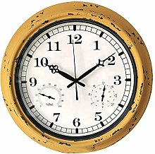 BLKJ Outdoor Garden Wall Clock, with Thermometer &