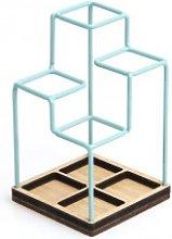 Block Design - Blue Sketch Desk Tidy - Blue/Wood