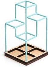 Block Design - Desk Tidy - Blue - Wood/Grey