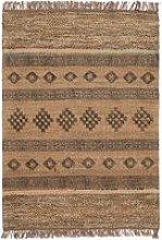 Blockprint Jute Rug with Wool and Recycled Sari -