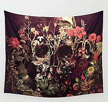 Bloom Skull Tapestry Wall Hanging Beach Throw Rug