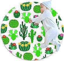 Blooming cactus, Round Area Rug Pattern Round