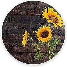 Blooming Sunflower Silent Non Ticking Wall Clock,