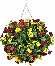 Blossom and Blooms Artificial Hanging Basket, Red