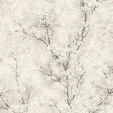 Blossom Glitter Oriental Wallpaper Vinyl Cream