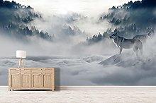 Blovsmile 3D Wolf, Fog, Snowy Forest Wallpaper,