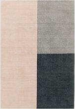 Blox Pink and Grey Wool Rug 160x230cm