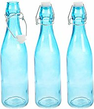 Blue 0.5 and 1 Litre Glass Bottles with Swing Top