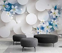 Blue 3D Flower Living Room TV Sofa Background