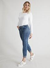 Blue Acid Wash Girlfriend Jeans - 8