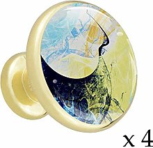 Blue Alloy Cabinet Knobs Gold Metal Round4