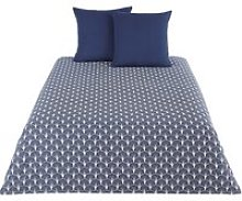 Blue and Anthracite Cotton Bedding Set with Print