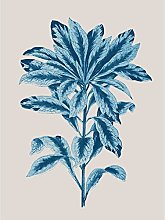 Blue And Beige Plant Leaves Large Wall Art Print