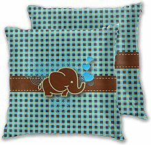 Blue and Brown Checkered Baby Elephant Daily