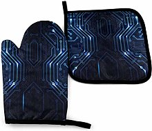 Blue and Gray Circuit Diagram Oven Mitts and Pot