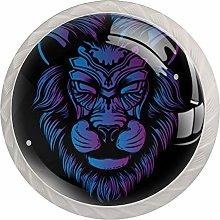Blue and Purple Lion Round Cabinet Knobs 4pcs