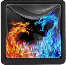 Blue and Red Fiery Dragons Crystal Glass Cabinet