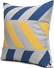 Blue And Yellow Leather And Gray Sofa Cushion