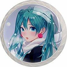 Blue Anime Girl 4 Pieces Crystal Glass Wardrobe