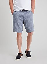 Blue Belted Chambray Linen-Rich Shorts - 32