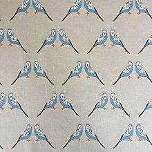 Blue Birds Design Cotton Rich Linen Look Fabric