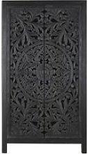 Blue-Black Carved Solid Mango Wood 2-Door Wardrobe