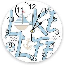 Blue Boat Anchor Lake Life Modern Wall Clock For