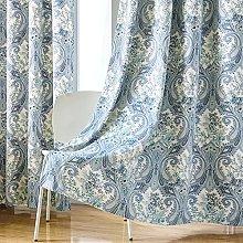 Blue Botanical Fern Leaves Pattern Design Living