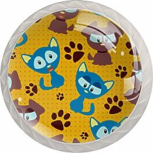 Blue Brown Cat Footprints 4 Pieces Crystal Glass