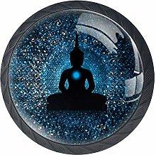 Blue Buddha Cabinet Dresser Drawer Knobs Glass