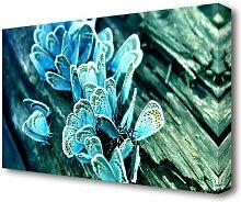 Blue Butterflies Flowers Canvas Print Wall Art