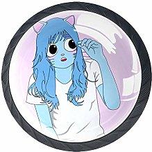 Blue Cat Girl Crystal Drawer Handles Furniture