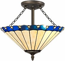 Blue ceiling light design Tiffany Calais 3 bulbs