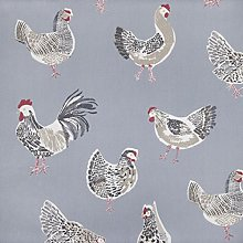 Blue Chickens Design PVC Oilcloth Wipe Clean