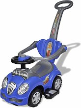 Blue Children's Ride-on Car with Push Bar