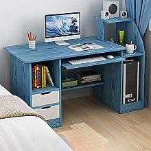 Blue Computer Desk, Desk with 2 Drawers Shelves