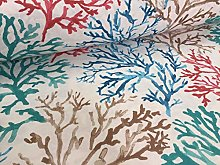 Blue Coral Reef Fabric Curtain Upholstery Cotton