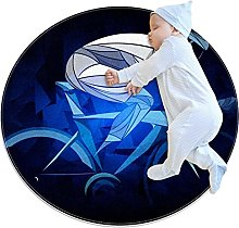 Blue cyclist, Printed Round Rug for Kids Family
