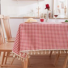 Blue daisy printed tassel tablecloth blue red