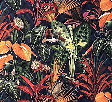 Blue Deep Jungle Orange Cotton Fabric Sold by