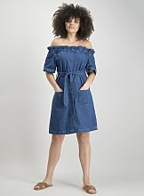 Blue Denim Bardot Dress - 6