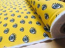 Blue Eyes on Yellow Fabric Watching Eye Print